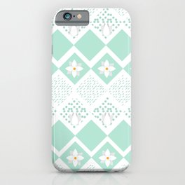 Abstract Ice Pastel Blue Ditsy Floral Diamond Pattern iPhone Case