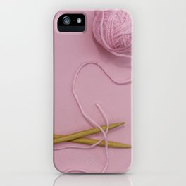 Knitting in pink iPhone Case