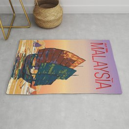 Vintage-Style Malaysia Travel Poster Rug