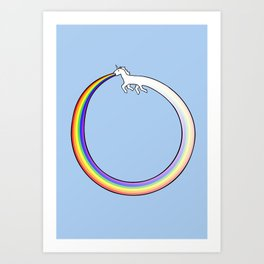 Ouroboros Unicorn Rainbow Vomit Art Print