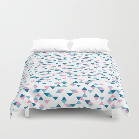 Triangles Blue and Pink Repeat Duvet Cover