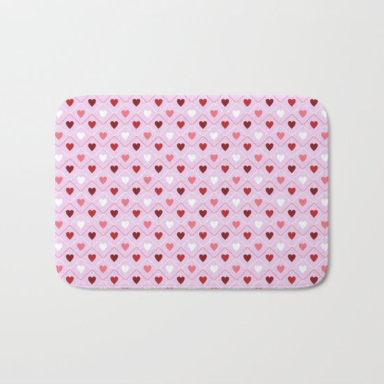 Valentines - Pink Heart Pattern Bath Mat