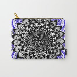 Blue and Black Patterned Mandala Carry-All Pouch