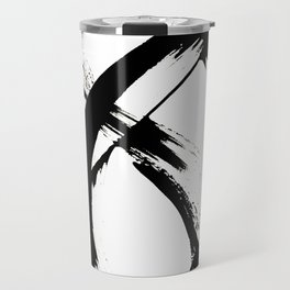 Brushstroke [7]: a minimal, abstract piece in black and white Travel Mug