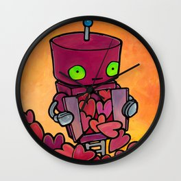 Robot - Overflowing with Endless Love Wall Clock