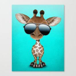 Cute Baby Giraffe Wearing Sunglasses Canvas Print