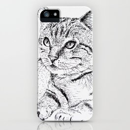 Cat Ink Drawing iPhone Case