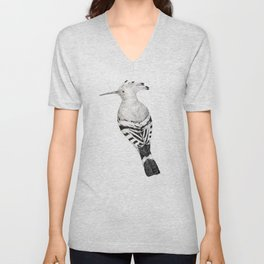 Eurasian hoopoe (black and white) Unisex V-Neck