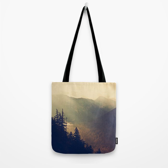 Sunrise over the Mountians Tote Bag