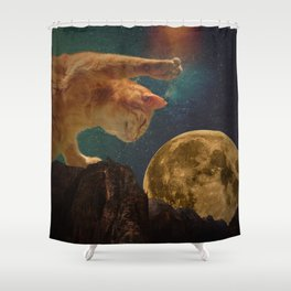 Cat hunting the moon Shower Curtain