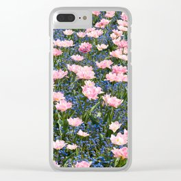 Pink Foxtrot tulips with blue forget-me-nots Clear iPhone Case