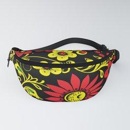 Black floral hohloma Fanny Pack