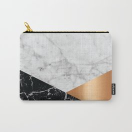White Marble Black Granite & Rose Gold #715 Carry-All Pouch