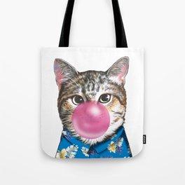 handsome cat blowing bubble gum Tote Bag