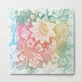 Abstract Pattern:  Watercolor Summery Brights 1 Shabbalicious Floral Orange Metal Print