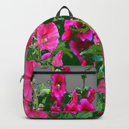 ENGLISH COTTAGE  PINK HOLLYHOCKS  GREEN & GREY GARDEN Backpack
