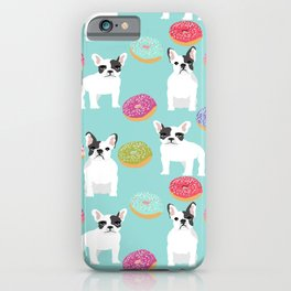French Bulldog cute mint pastel cute donuts sweet treat doughnuts junk food dessert foods and dogs iPhone Case