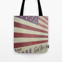 flag Tote Bags featuring Flag by Karin Elizabeth