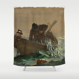 The Herring Net - George's Bank, New England maritime landscape by Winslow H-o-m-e-r Shower Curtain