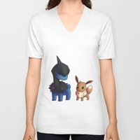eevee V-neck T-shirts featuring Deino and Eevee by Lollitree