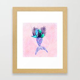 Summer Mermaid Tail With Tropical Flowers Bouquet Framed Art Print