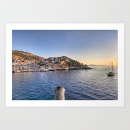 Hydra cannons remind the glorious history of this Greek island Art Print