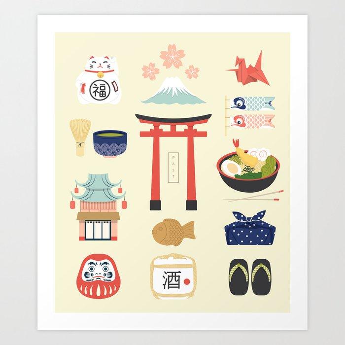 Japan Icons Illustration : PAST Kunstdrucke
