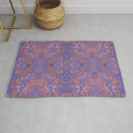Birds Arabesque, Bohemian Pattern, Cobalt Rose Mauve Rug