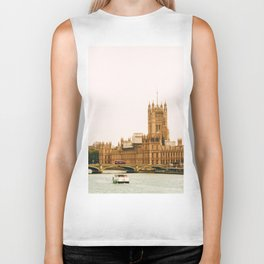 Sepia London England Cityscape (Color) Biker Tank