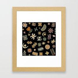 African Adinkra Symbols Framed Art Print