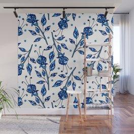 Blue flowers Wall Mural