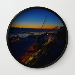 Contrast at Dusk/Clear Sky and Lake Effect (Chicago Sunrise/Sunset Collection) Wall Clock