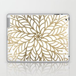 Elegant white faux gold floral trendy mandala Laptop & iPad Skin