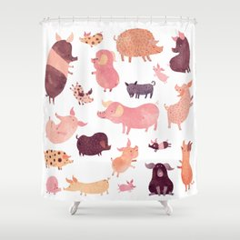 Pig Pig Pig Shower Curtain