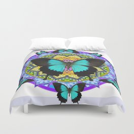 PURPLE AMETHYST BLUE BUTTERFLY MANDALA  WHITE ART Duvet Cover