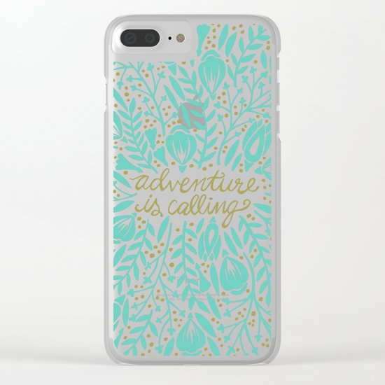 Adventure is Calling – Turquoise & Gold Palette Clear iPhone Case