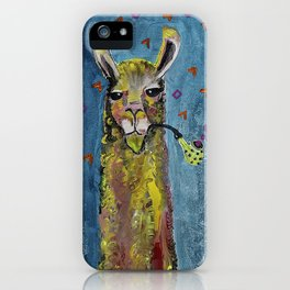 Llama with pipe iPhone Case