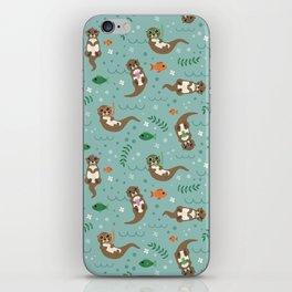 Kawaii Otters Playing Underwater iPhone Skin