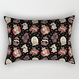 Old School Tattoo. Pattern. Black Rectangular Pillow