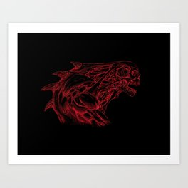Skull creature (red line) Art Print