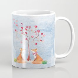 Fox love- foxes animal nature _ Watercolor illustration Coffee Mug