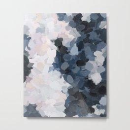 Navy Black Beige Lavender Abstract Art Moonlight Ocean Painting Metal Print