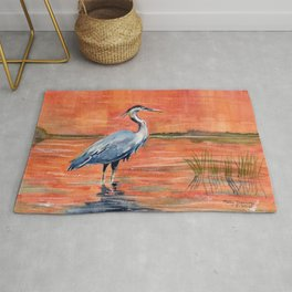 Great Blue Heron in Marsh Rug