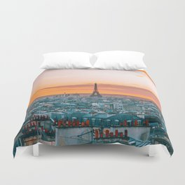 Sunset in Paris (Color) Duvet Cover
