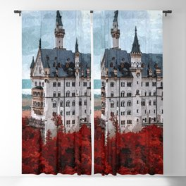 The Castle of Mad King Ludwig, Autumn, Neuschwanstein Castle, Bavaria, Germany landscape painting Blackout Curtain