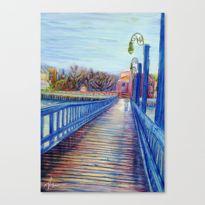Water Over The Bridge Colored Pencil Drawing Canvas Print By Nicolebarker