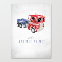 optimus prime Canvas Prints featuring The Optimus Prime by Josh Ln