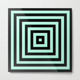 Graphic Geometric Pattern Minimal 2 Tone Infinity Square Shapes (Mint Minty Green & Black) Metal Print