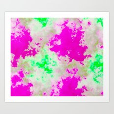 Pink Green and yellow clouds Art Print