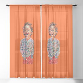 Portrait of a Happy Child Sheer Curtain